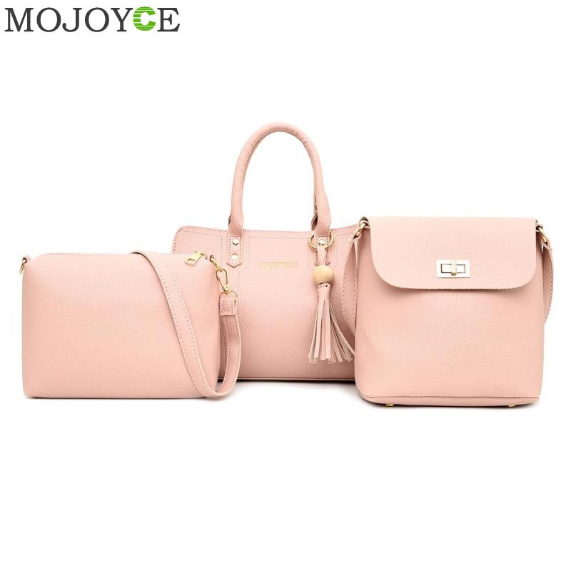 3pcs/set Fashion Solid Color Shoulder Messenger Handbags Casual PU Leather Women Crossbody Top-handle Bags(China)