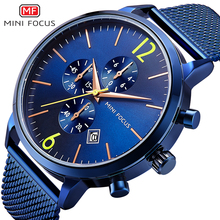 MINI FOCUS Mens Classic Chronograph Watches Waterproof  Business Quartz Wristwatch Man Stainless Steel Mesh Strap 0185G Blue