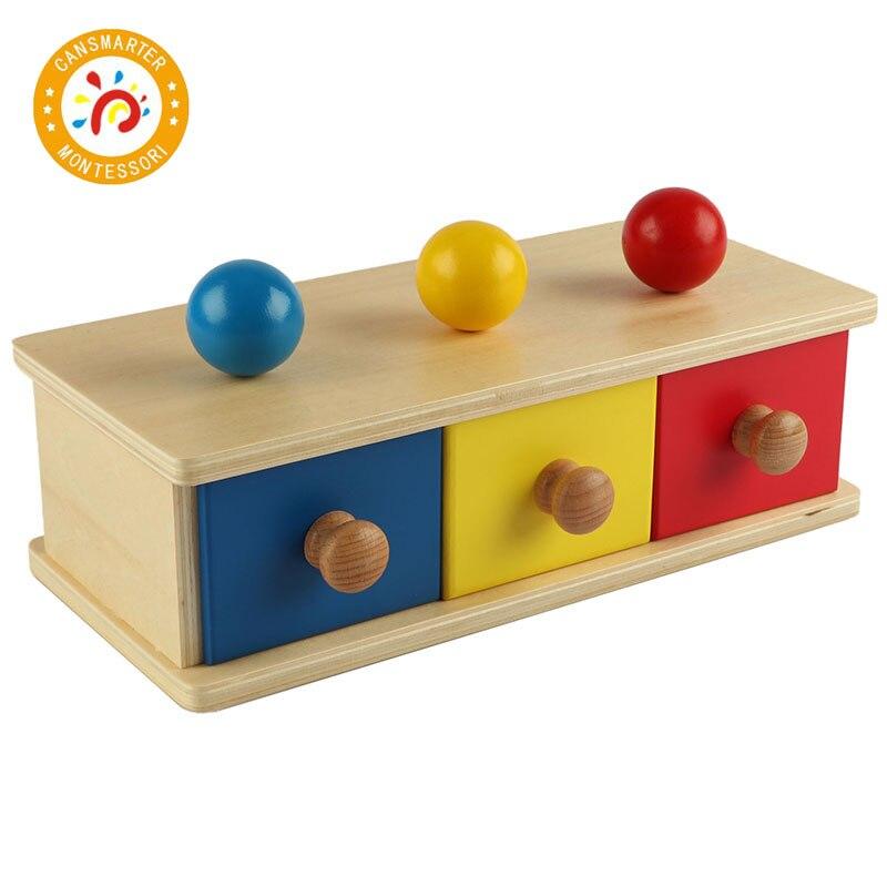 Montessori enfants jouet de haute qualité en bois coloré tiroir boîte préscolaire formation