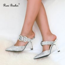 Roni Bouker Women Shoes 2019 New Spring Summer Sandals Fashion Diamante Heels Pointed Toe Woman Crystal Wedding Party Stilettos