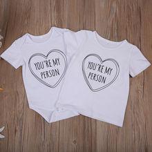 Sister Brother Top Children Boys T-shirt Newborn Baby Bodysuit Outfits Summer Short Sleeve Costume Cute Letter White T-shirt