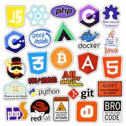 50 шт. интернет Java JS Html облако Docker Bitcoin Программирование язык приложение Логотип Прохладный наклейки для ноутбука автомобиля DIY наклейки