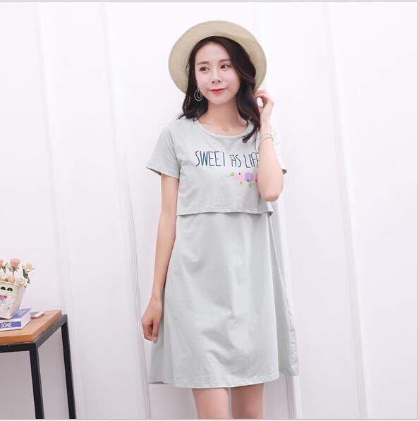 1dc6e3c6728ce Fdfklak Summer Short Sleeve For Feeding Clothes Dressing Gown For Pregnant  Women Maternity Sleepwear Nursing Night Gown F134-in Sleep & Lounge from  Mother ...