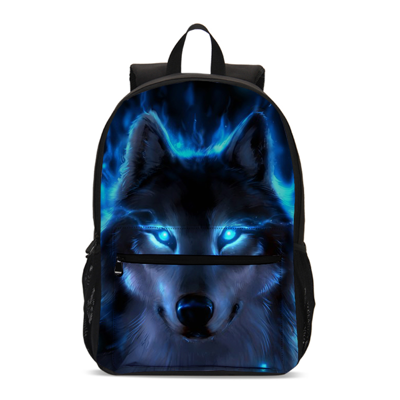 School-Bags Backpack Kids Student Bookbag Cool Teenager Children Printing Boys for Wolf