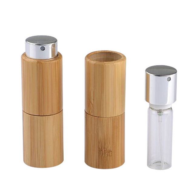 b58438f8c712 US $46.69 24% OFF|10pcs 10ml Empty Creative Rotary Bamboo Perfume Spray  Bottle Portable Reusable Cosmetic Liquid Atomizer Container Glass Inner-in  ...