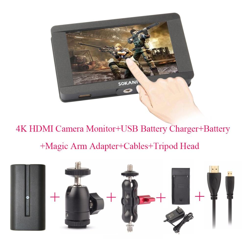 Sokani SK-5 5'' 4K HDMI Camera Monitor for Sony Panasonic Cameras Monitor + Battery + Charger + Magic Arm + Cable + Tripod Head цена