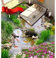 3d pvc wallpaper Home Decoration Garden fish 3D stereo floor wallpaper for bathroom waterproof