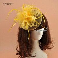 Fascinators וכובעים צהוב כתום לבן אדום חתונה נוצה קוריאנית מירוץ סוסים מופע מסיבת נשים אופנה כיסוי ראש פרח