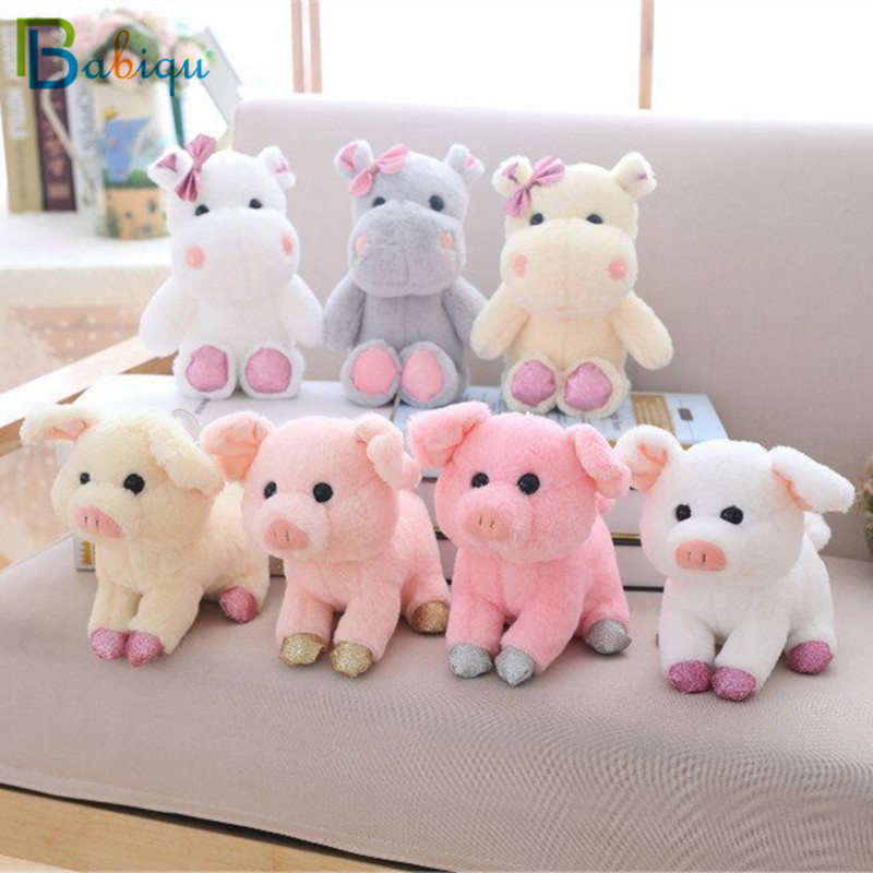 Babiqu 1pc 20cm Cute Animals Doll Soft Stuffed Kawaii Pig and Hippo Plush Toys for Children Birthday Gift Kids Baby Appease Toy 20cm cute hamster mouse plush toy stuffed soft animal hamtaro doll lovely kids baby toy kawaii birthday gift for children