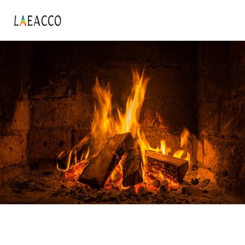 Laeacco Brick Wall Fireplace Wood Fire Burning Flame Photography Backdrop Baby Portrait Photo Background Photo Studio Photocall laeacco happy easter day flags chick haystack brick wall home decor scene photography backdrop photo background for photo studio