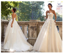 2019 Strapless Light Champagne Wedding Dresses  Lace up Back A line Bride Train Illusion bridal Dress GownS