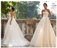 2019 Strapless Light Champagne Wedding Dresses Lace up Back A line Bride Dresses Train Illusion bridal Dress Wedding GownS