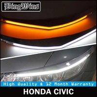Автомобиль Стайлинг для фар Светодиодный для бровей дневного света DRL с желтый указатель поворота для Honda Civic 2012 2015 9600Lm