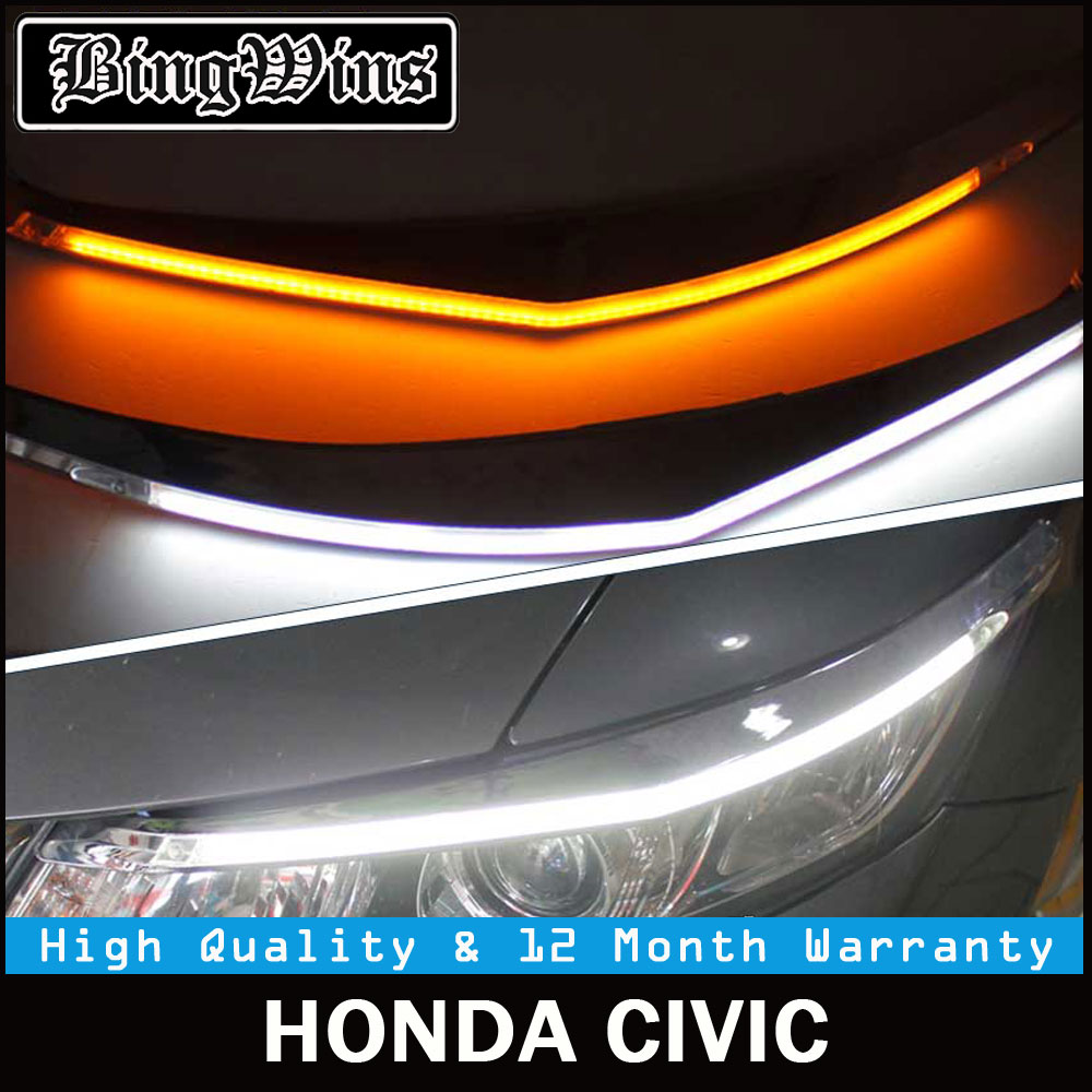 Car styling for Headlight LED Eyebrow Daytime Running Light DRL With Yellow Turn Signal Light For Honda Civic 2012-2015 9600Lm car styling led headlight brow eyebrow daytime running light drl with yellow turn signal light for ford escape kuga 2013 2016
