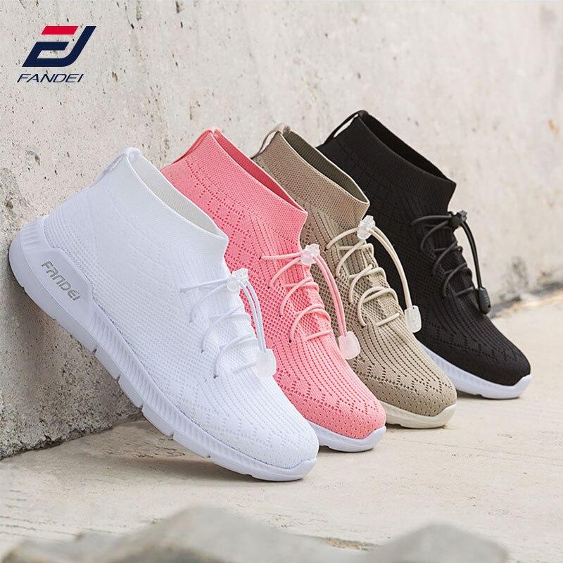 FANDEI Winter Frauen Laufschuhe Socken Turnschuhe Für Frau Sport Schuhe Atmungsaktives Mesh Wanderschuhe Zapatillas Mujer Deportiva