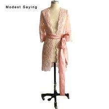e28d5d59e902f Elegante Rosa nude 3 4 mangas Encaje nupcial Chaquetas 2017 formal mujeres  largo Abrigos boleros capa Accesorios DE BODA bb61