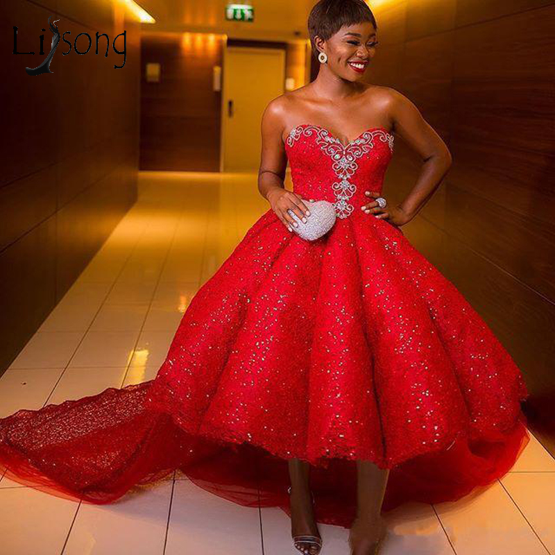 Sparkle Red High Low Aso Ebi Prom Gowns 2018 Crystal Beaded Lace Long Nigeria Prom Dresses Sequined African Evening Gowns-in Prom Dresses from Weddings & Events    1