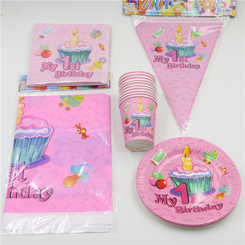 62pcs\lot Decoration Tablecloth Boys Girls Kids Favors Napkins 1st Birthday Party Paper Plates Cups Baby Shower Banner Supplies-in Disposable Party ...  sc 1 st  AliExpress.com & 62pcs\lot Decoration Tablecloth Boys Girls Kids Favors Napkins 1st ...