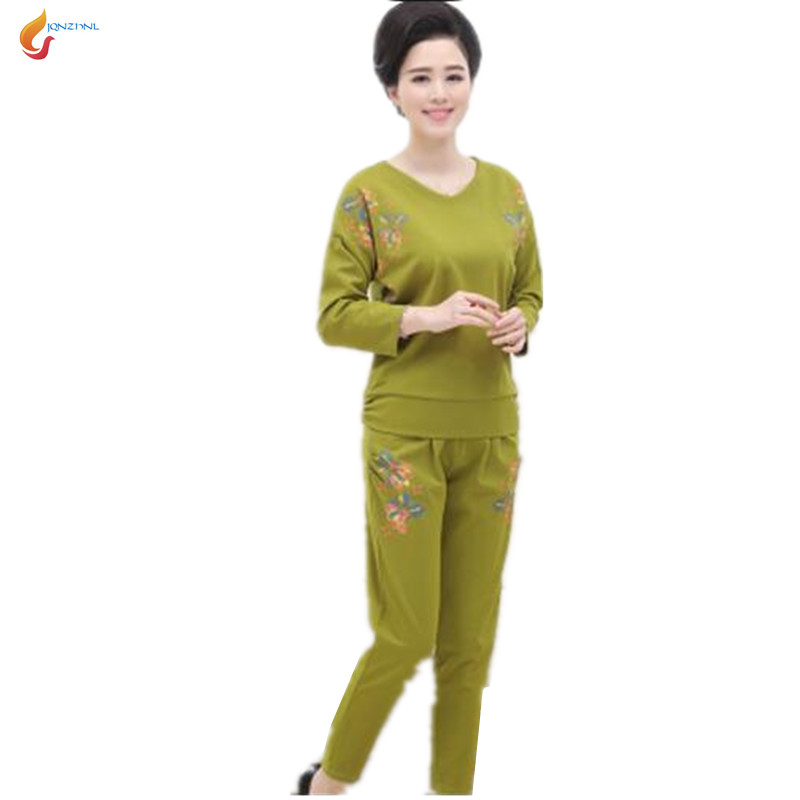 2018 New women spring Middle age large size casual sportswear suit fashion Long sleeves+trousers Twinset Costumes G184 JQNZHNL 3