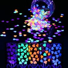 1 г флуоресцентные Блестки для ногтей 4 мм ультратонкий красочный в форме сердца блестки для ногтей случайный узор