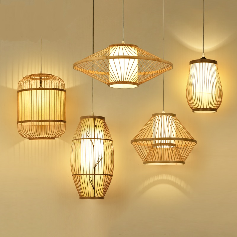 Chinese Garden Hotel Restaurant Style Pendant Lights lamp Japanese bamboo dining room study LU630 ZL41 modern chinese style bamboo pendant lamp living room lights restaurant hanglamp industrieel wooden veneer dining room lights