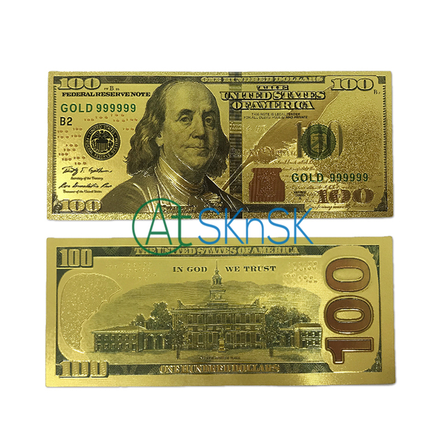 10pcs Lot Clic Us Dollar Colorful Usa Banknotes 100 Dollars Bills Souvenir 24k Gold Plated Fake Currency Money For Gifts