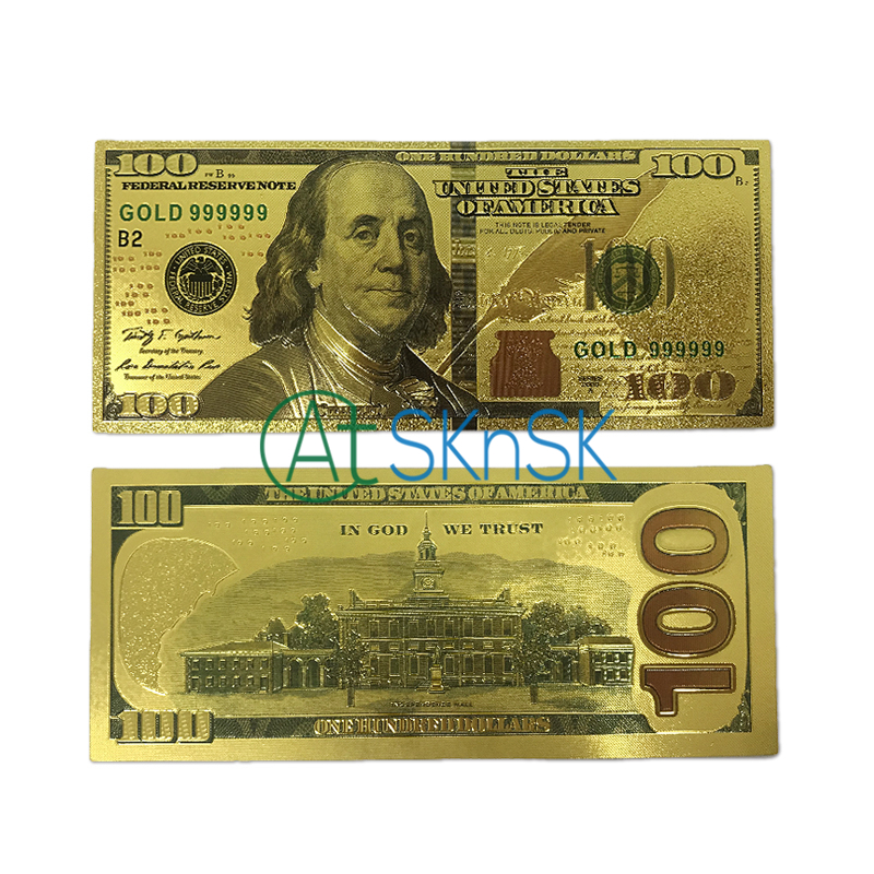 10Pcs/lot Classic US <font><b>dollar</b></font> colorful USA Banknotes <font><b>100</b></font> <font><b>Dollars</b></font> <font><b>bills</b></font> souvenir 24K gold plated fake currency gold money for gifts image