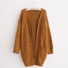 Yfashion Fashion Women Casual Loose Knitwear Coat Thicken Warm Windproof Knitting Tops Simple Beautiful Natural