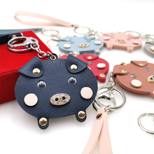 YD&YDBZ New Small Pig Cute Keychains For Women Bag And Car Key Chain Fashion Accessories Blue Pink Animal Ring Girl Gift
