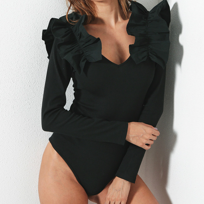 High Quality Ruffles Sexy Skinny Bodysuit Women Fitness Jumpsuit Romper Long Sleeve Vneck Bodycon Black Overalls Bodysuits GV107