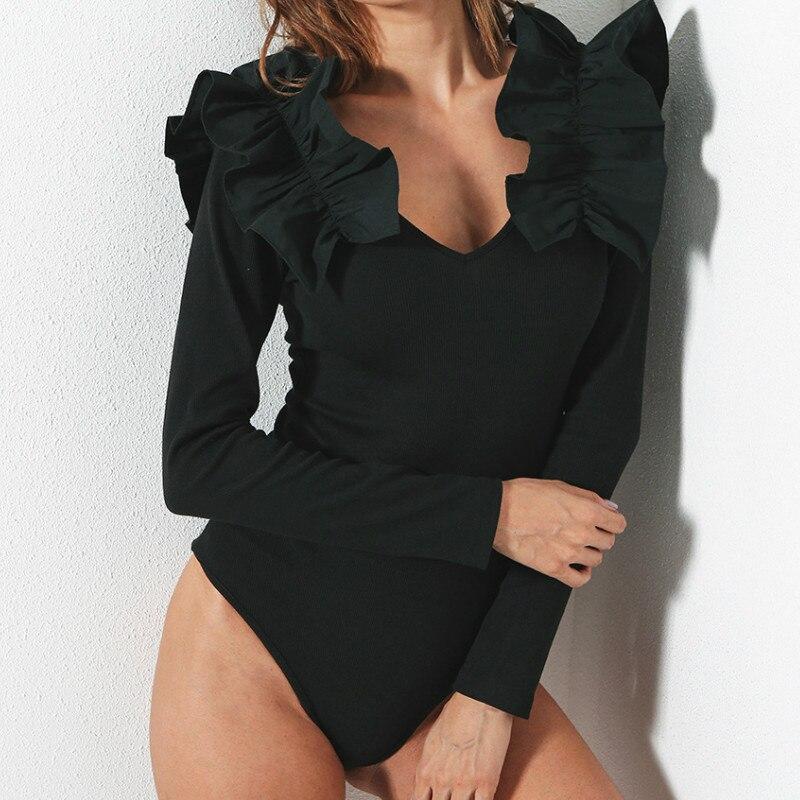 High Quality Ruffles Sexy Skinny Bodysuit Women Fitness Jumpsuit   Romper   Long Sleeve Vneck Bodycon Black Overalls Bodysuits GV107