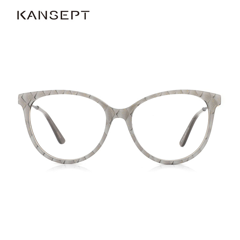 Acetate Women Round Glasses Frame Plaid With Gold Powder Fashion Eyeglasses Frame For Women Beautiful And High Quality #9014