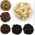 Hepburn flower hair rope New curly Can stretch Mixed  fake hair bun Synthetic chignon bun hairpiece Caterpillar shape 6 colors