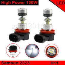 2PCS H11 H8 6000K 100W Fog Light White Yellow 2323 LED DRL Projector font b Lamp