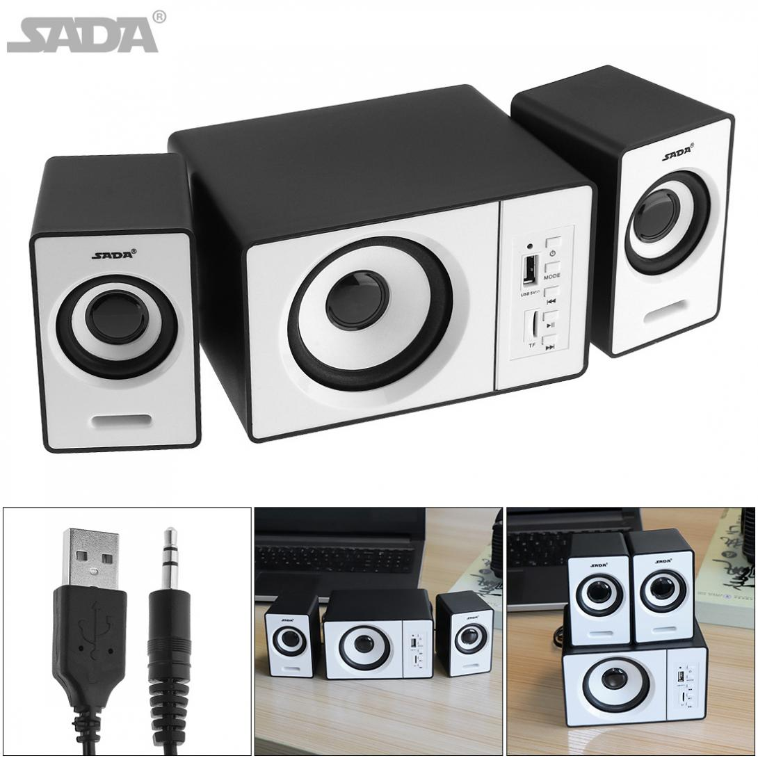 SADA Mini Mega Bass Speaker USB Powered Active Multimedia Combination Speaker with 3.5mm Audio Plug and 2.1 USB Wired