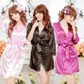 GOPLUS New Black White Pink Blue Women's Faux Silk Robe Bath Gown Hot Sale Kimono Yukata Bathrobe Solid Color Sleepwear C3287