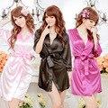 GOPLUS Nueva Negro Blanco Rosa Azul de Las Mujeres Bata de Seda del Faux Vestido de baño de La Venta Caliente Kimono Yukata Albornoz ropa de Dormir de Color Sólido C3287