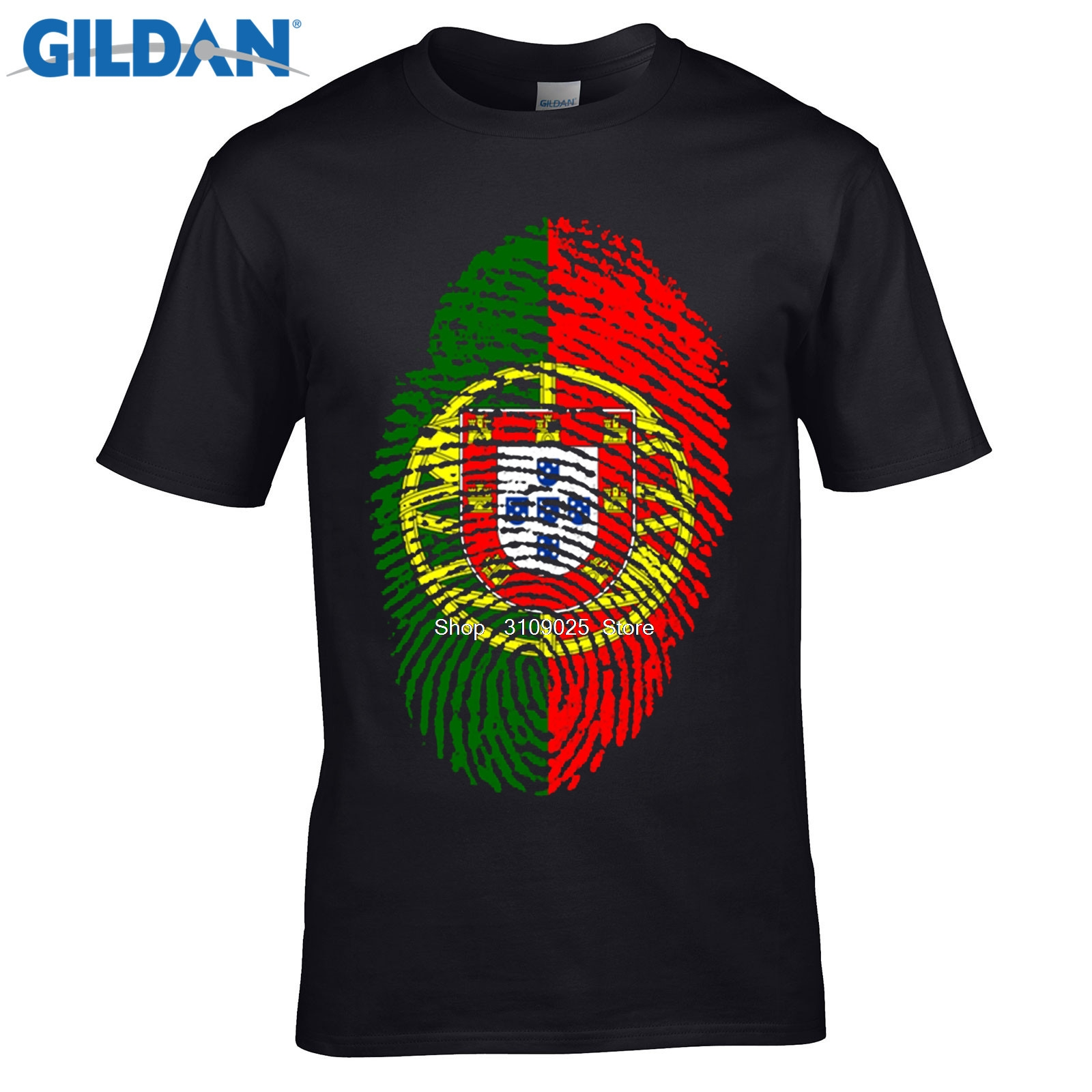 Gildan Diy Print T Shirt Screen Printing Portugal Flag Fingerprint T
