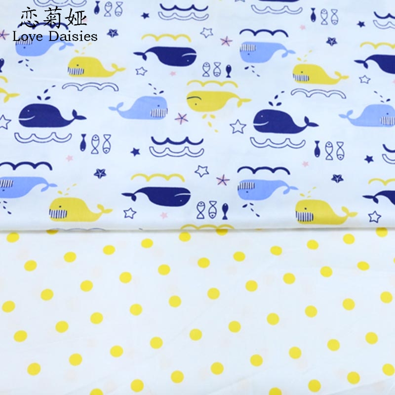 50*160cm 2pcs/lot nordic wind blue whales yellow dots 100% cotton twill cloth DIY for be ...