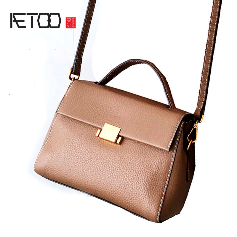 купить AETOO Female new Korean wave wild leather diagonal package handbag simple buckle shoulder bag недорого