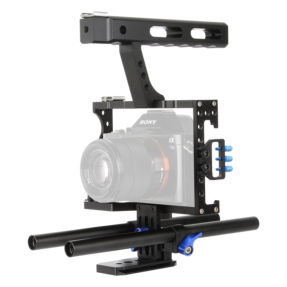 Lightdow VD-07 15mm Rod Rig DSLR Camera Cage Stabilizer+Top Handle Grip for Sony A7 II A7r A7s A9 A6300 A6000 Panasonic GH4 GH3 aluminum dslr camera cage kit support for canon 5d mark ii 7d 60d 15mm rod rig