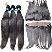 7a hair with lace frontals brazilian straight 2 Bundles With 13×4 lace frontals with baby hair