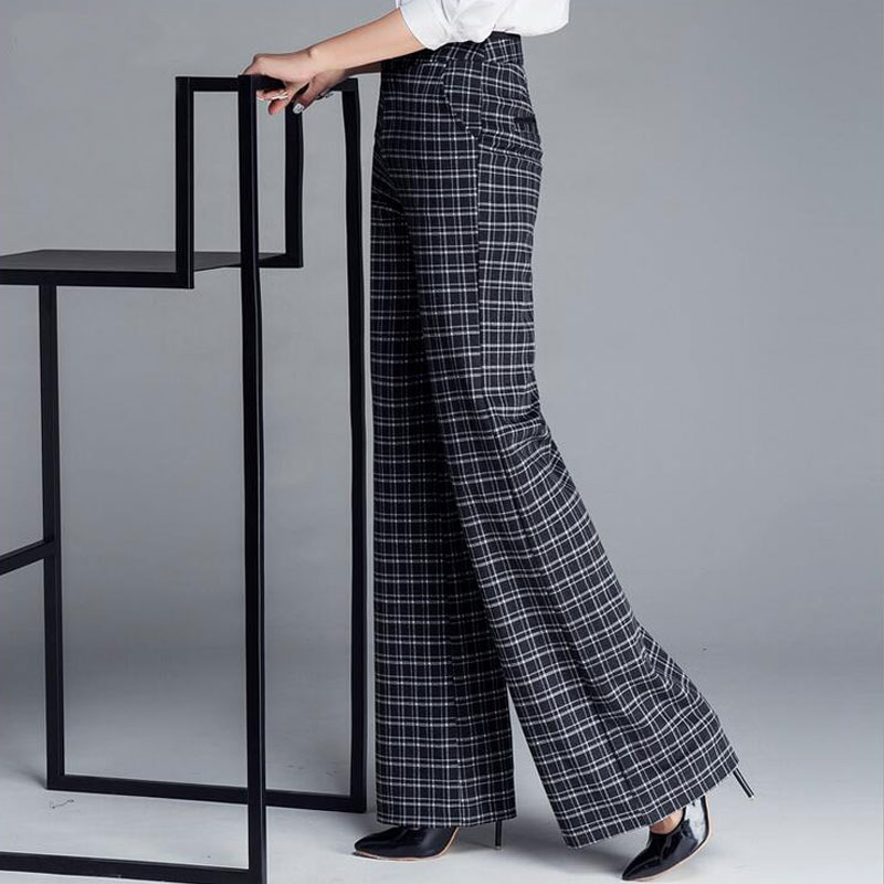 c7c7cc81110 Women s Black and White Plaid Pants Office Lady Work Dress Flare Leg Pants  Vintage Woman Stretch Wide Trousers Plus Size 37-in Pants   Capris from  Women s ...
