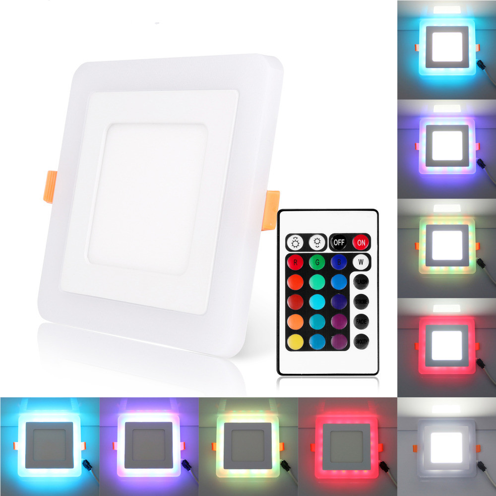 High quality with cheap price led panel light 36w 600x600 ac85 265v - Ultra Slim 6w 9w 18w 24w Square Concealed Dual Color Led Panel Light Cool White Blue Red Pink Rgb Lamp Downlight Ac100 265v