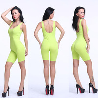 Women Summer Scoop Neck Calf Length Bodysuit Sexy Straps Backless Tank Top Short Bodycon Jumpsuit 13