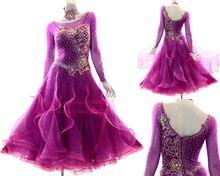Ballroom Competition Dance Dress Women High Quality Custom Made Elegant Purple Standard Waltz Dresses