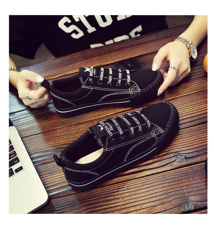 Spring Korean versatile canvas shoes female 2018 new students Harajuku cloth shoes casual black Hong Kong wind board shoes 33