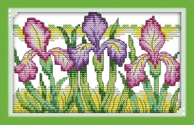 Joy Sunday Floral Style Gorgeous Iris Modern Cross Stitch Patterns