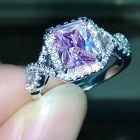 Victoria Wieck Stunning Princess Cut Pink Sapphire Simulated Diamond 925 Silver Wedding Band Ring Set Sz