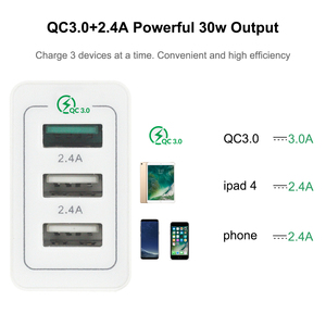 Image 2 - AIXXCO 3 Ports Quick Charger QC 3.0 30W USB Charger For iphone 7 8 ipad Samsung S8 Huawei Xiaomi Fast Charger QC3.0 EU/US Plug
